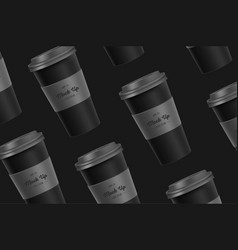 Black pattern coffee cup mockup on background vector