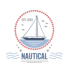 boat nautical and marine sailing themed label vector image