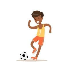 Boy Playing Football Traditional Male Kid Role vector