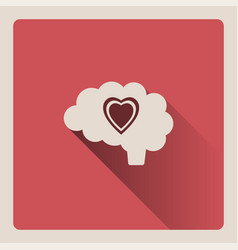 Brain thinking in love on red background with vector