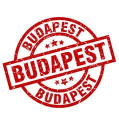 Budapest red round grunge stamp vector