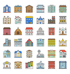 building construction filled outline icon set 13 vector image