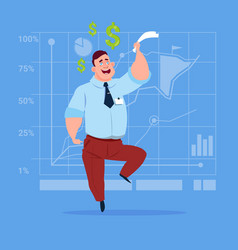 business man with dollar sign over finance chart vector image