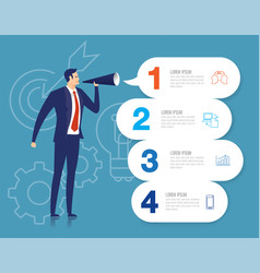 Businessman announce with 4 step vector