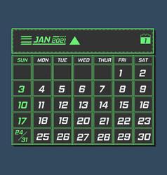 Calender january 2021 vector