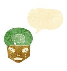 Cartoon spooky robot head with speech bubble vector