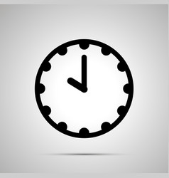 Clock face showing 10-00 simple black icon on vector