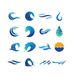 collection of abstract water waves vector image
