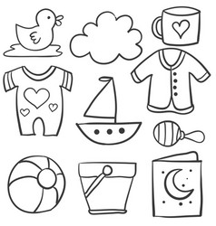 Collection of baby theme doodle set vector