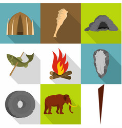 common ancestor icons set flat style vector image