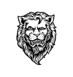 Cool and dashing lion head black and white vector
