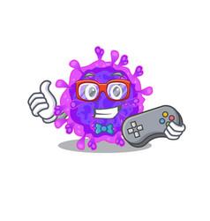 Cool gamer alpha coronavirus with controller vector