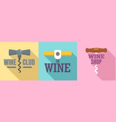 corkscrew logo set flat style vector image