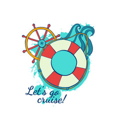 cruise on the liner marine themes summer voyage vector image