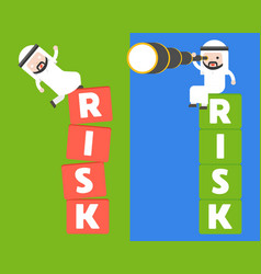 Cute arab saudi guy falling from block vector