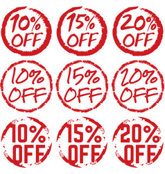 discount percentage off grunge labels vector image