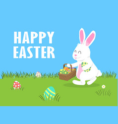 easter day joyful white bunny do egg hunting vector image