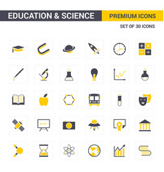 educational and science icons yellow vector image