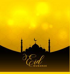 Eid mubarak islamic background with mosque design vector