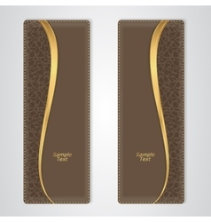 Elegant brown leather vertical banner with the vector