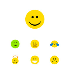Flat icon face set of grin joy cold sweat and vector
