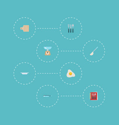 Flat icons cooking notebook skillet soup spoon vector
