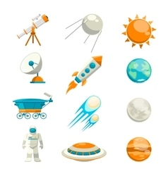 flat space icon set vector image