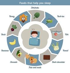 Foods that help you sleep vector image