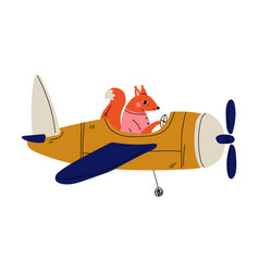 fox pilot flying on retro plane in sky cute vector image
