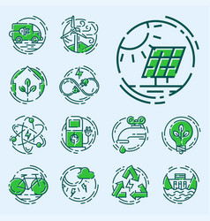 green ecology energy conservation icons and vector image