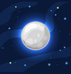 grey and blue moon in deep dark blue space vector image
