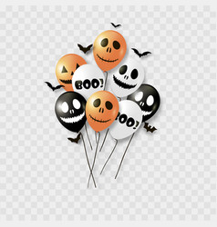 halloween balloons and bats vector image