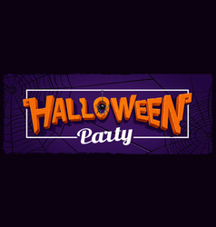 halloween party horizontal banner with lettering vector image