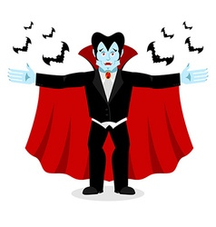 Happy Dracula in red mantle Good cheerful vampire vector
