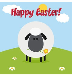 Happy Easter Background with a Sheep vector image