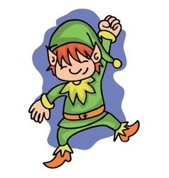 Happy elf with green costume vector