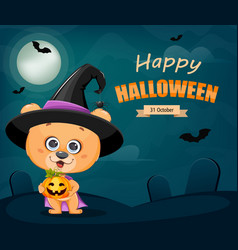 Happy halloween cute little bear in witch hat vector