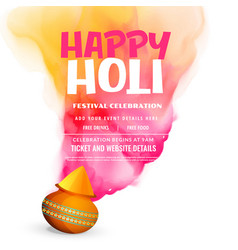 Happy holi festival celebration greeting poster vector