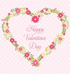 happy valentines day greeting card with flowers vector image