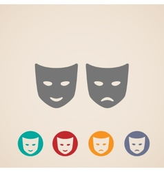 Icon set of theater masks vector
