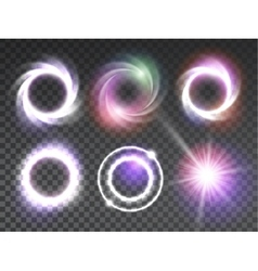 Isolated transparent glowing light effects set vector
