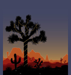 Joshua tree decorated with a string of lights vector