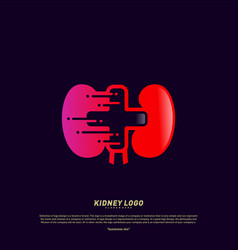 Kidney with plus health logo design concept vector