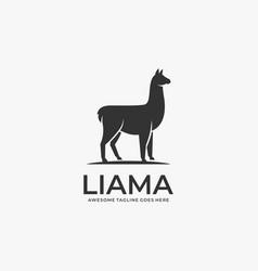 Logo alpacas elegant silhouette vector