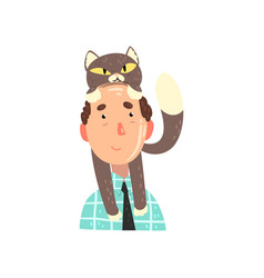 man and his grey cat adorable pet on the head of vector image
