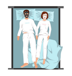 Man and woman in face masks lying back on bed vector