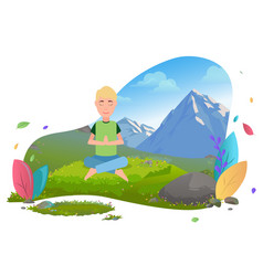 Man meditating in mountains traveling and tourism vector
