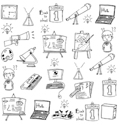 Many object school doodles vector