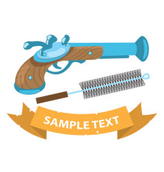 Musket and ramrod on military theme vector