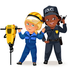not female professions strong woman police vector image